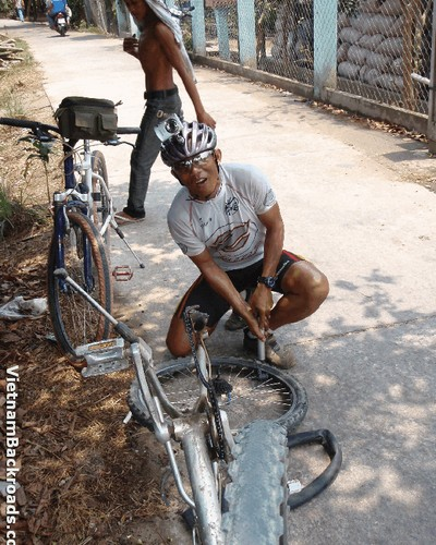 He is not only bike guide but also real mechanic